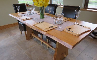 Bespoke solid ash table with matching place settings